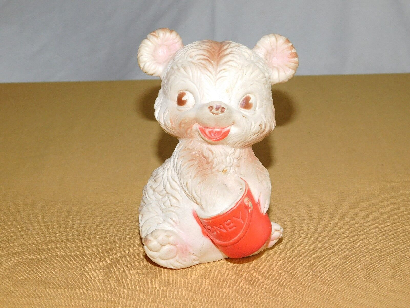 VINTAGE TOY  5  BABY BEAR HONEY MOBLEY RUBBER SQUEAK TOY