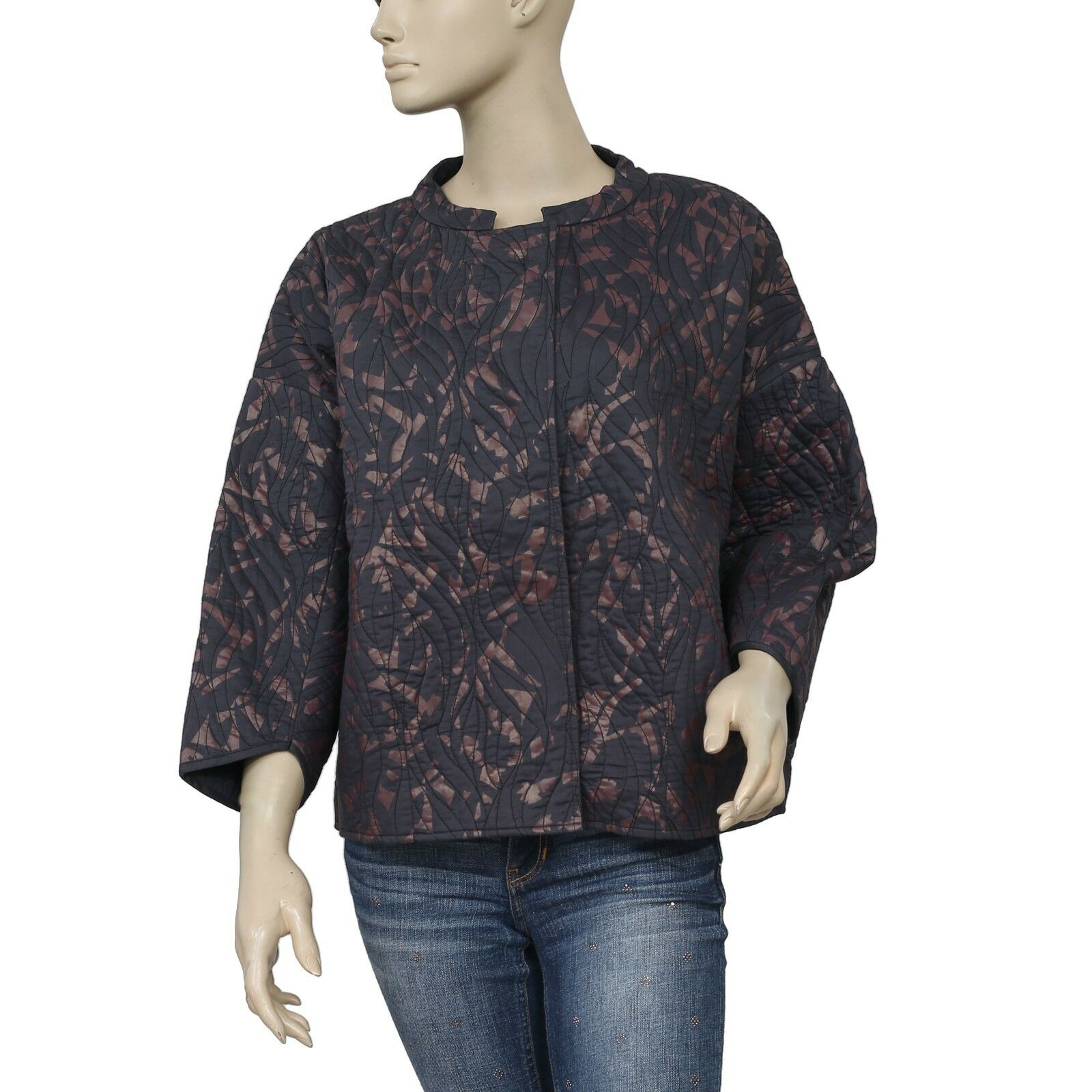 180260 New Ginger Printed Quilted Buttondown schwarz Jacket Top Large L 42
