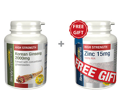 Korean Ginseng 2000mg 120 Tablets + FREE GIFT Zinc 15mg 60 Tablets Energy Levels