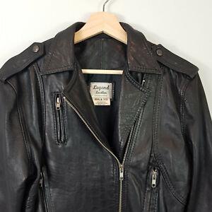 VINTAGE-Legend-Leather-Australia-Womens-Black-Leather-Jacket-AU-8-or-US-4