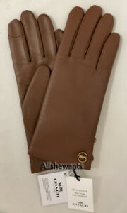 Genuine-COACH-Tech-Gloves-for-Women-Leather-w-Wool-Lining-Saddle-Brown-MSRP-148