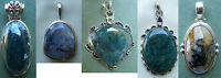 Moss Agate Pendants Set In Sterling Silver Translucient Gemstones With Dendrites
