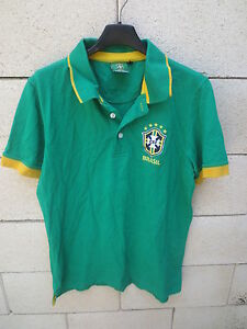 Polo-football-BRESIL-BRASIL-shirt-coton-vert-manches-courtes-jersey-CBF-L