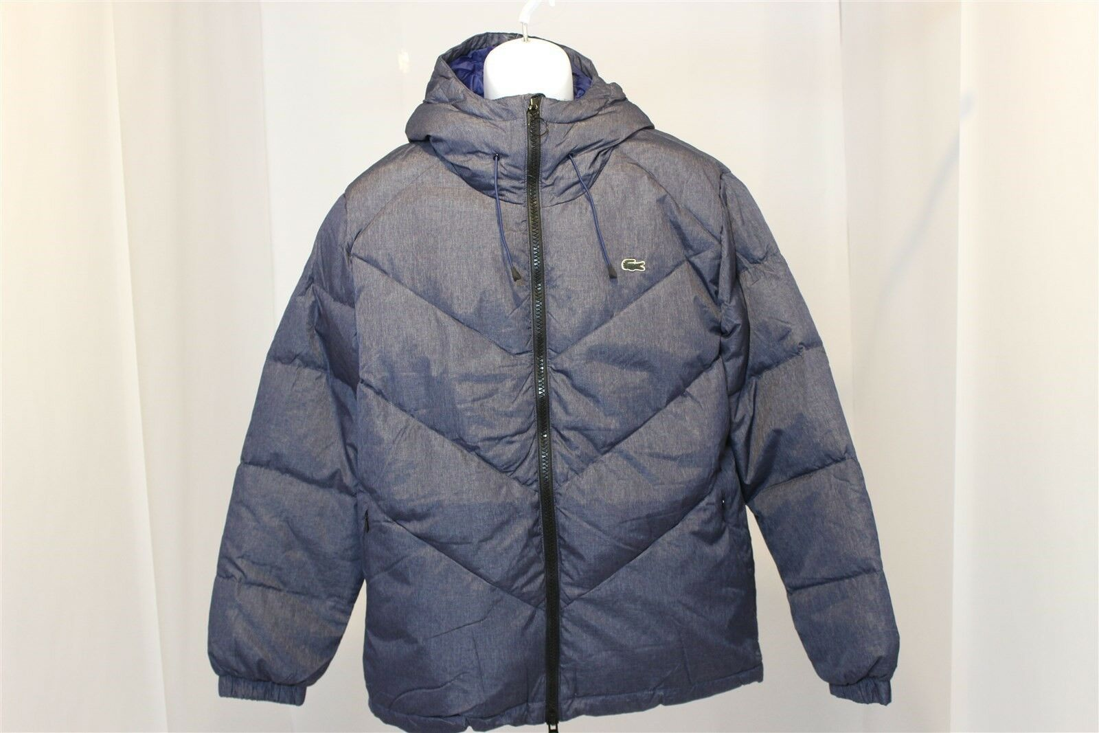 LACOSTE LIVE MENS DOWN-PADDED PUFFER COAT - NAVY blueE - Men's Size (M-L)