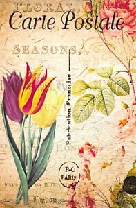 Postcard-French-Vintage-Shabby-Chic-Style-Flowers-Tulips-Floral-9K