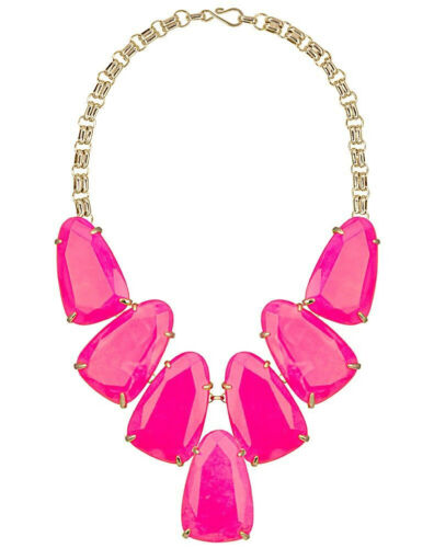 Kendra Scott Neon Pink Gold Harlow Necklace