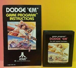 Atari-2600-Dodge-039-em-Game-amp-Instruction-Manual-Tested-Works-Rare