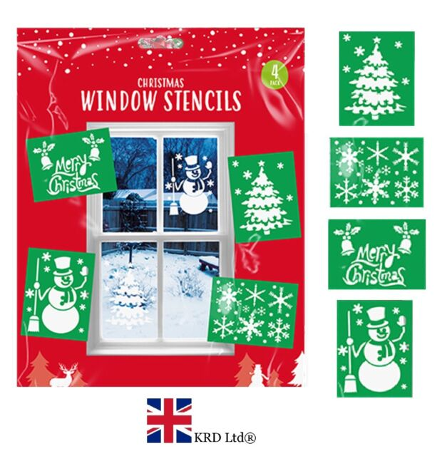 Christmas Sprays Uk.4 X Large Christmas Window Stencils A4 Xmas Tree Snowflake Snowman Snow Spray Uk