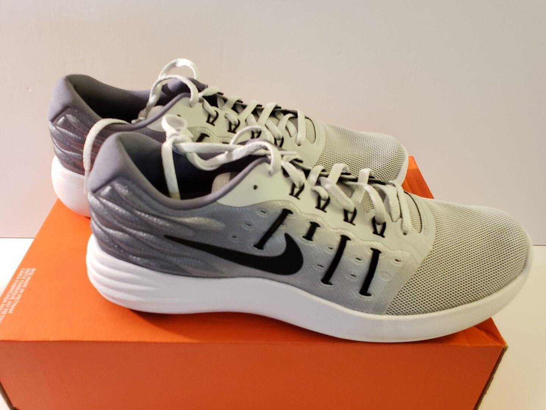 69cdc3907e5c2 Men s Nike Lunarstelos Sz 10 Training shoes Platinum Black Grey 844591 002  ...
