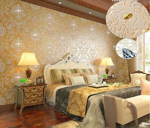 Image Is Loading Luxury Glitter Damask Wallpaper Roll Diamond Gold Blue