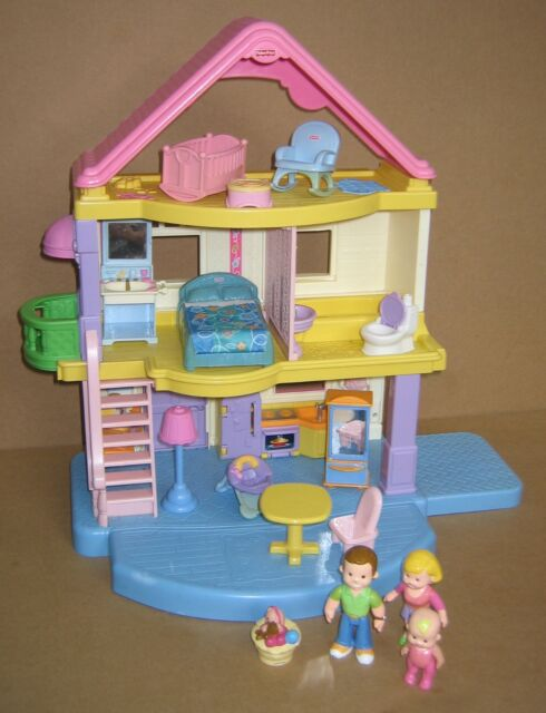 Fisher Price My First Dollhouse With Accessories Dolls Used Great