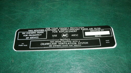 1964 1965 BUICK WILDCAT 465 AIR CLEANER BASE SERVICE INSTRUCTIONS DECAL STICKER
