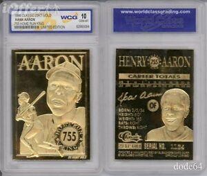 1996-Baseball-HANK-AARON-755-Home-Run-King-23K-GOLD-CARD-Graded-10
