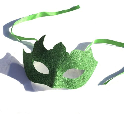 VERDE GLITTER VENEZIANO Masquerade Maschera Poison Ivy Halloween Costume