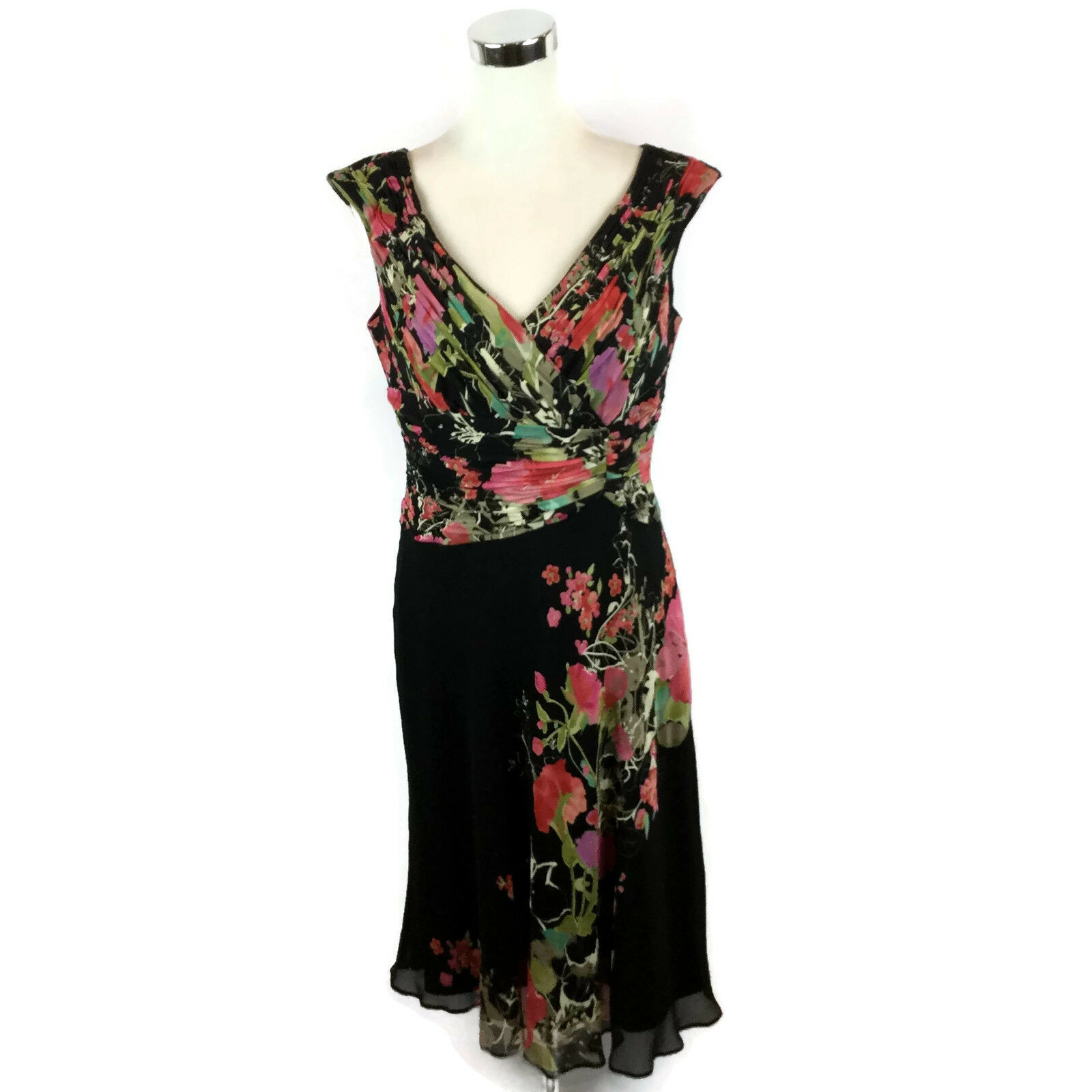 10038a95811dd6 Creek 12 100% Silk Fully Lined Floral Midi Dress Size Coldwater ...