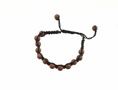 Bracelet style shamballa macrame pierre du soleil rouille boule disco 7175