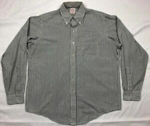 Vtg-Brooks-Brothers-Mens-White-Striped-L-S-Button-Down-Dress-Shirt-Sz-16-1-2-A4