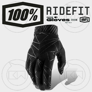 GUANTI-100-RIDEFIT-MX-BLACK-WHITE-ADULTO-MOTOCROSS-ENDURO-OFF-ROAD-ATV-MTB