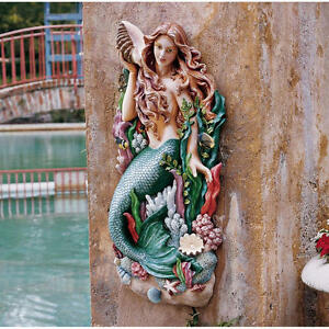 """Melody's Cove Mermaid Hand Painted Design Toscano 29"""" High Wall Sculpture"""