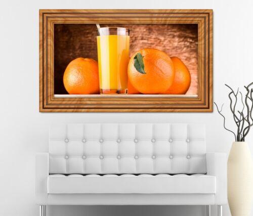 3D Wandtattoo Saft Orange Orangensaft Getränk Glas Küche Wand Aufkleber 11K572