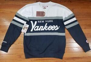 aac9769d Details about New York Yankee Mitchell & Ness MLB Men's Head Coach Crew  Sweatshirt Navy /White