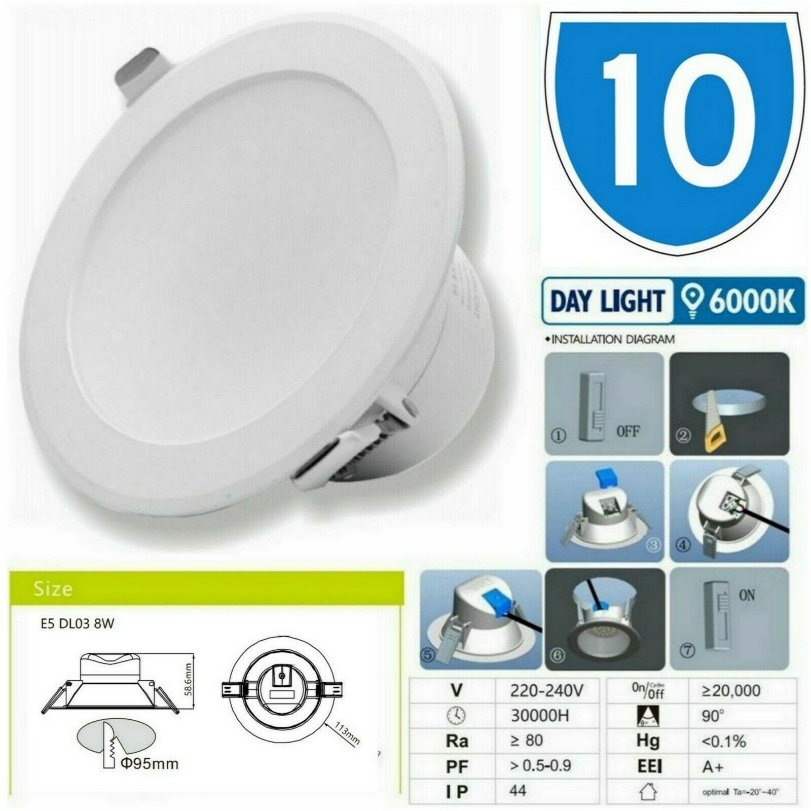 10x Bright LED Ceiling Light Down Panel Wall Light Hallway Bathroom Kitchen Lamp