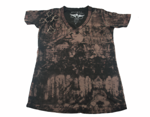Affliction-Medium-Top-Tee-Sinful-Cross-Angel-Wings-Embroidered-T-Shirt-Womens