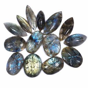 14-Pcs-Natural-Labradorite-30mm-42mm-Loose-Hand-Carved-Gemstones-Wholesale-Lot
