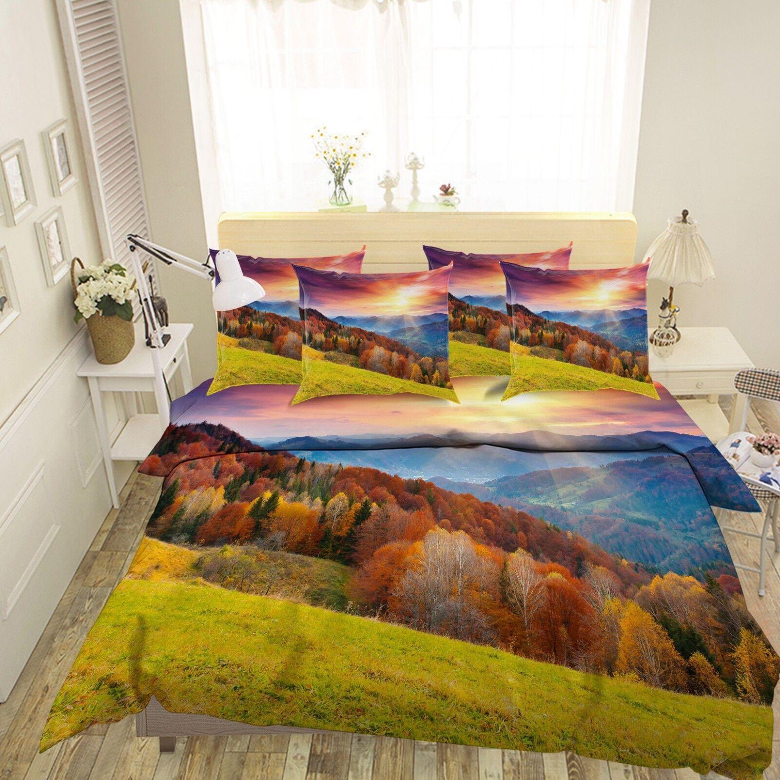 3D Sunny Hills Wood 6 Bed Pillowcases Quilt Duvet Cover Set Single King UK Lemon