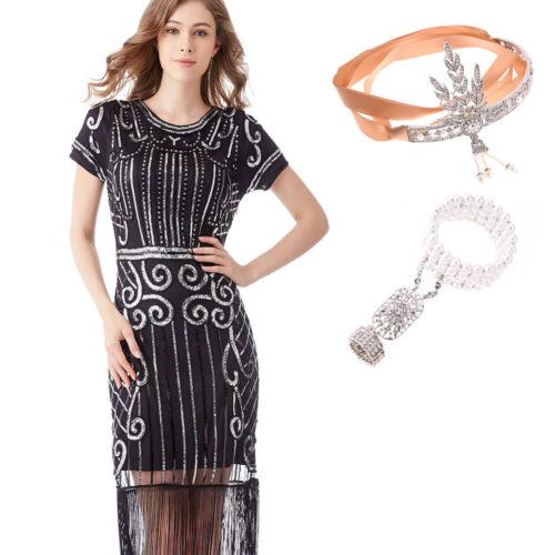 Deluxe Ladies 20s 1920s Roaring Flapper Costume Sequin Gatsby Fancy Dress UP