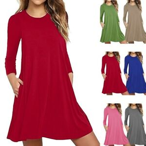 Women-Casual-Long-Sleeve-Solid-Loose-Tunic-Top-Shirt-Blouse-Mini-Dress-Plus-Size