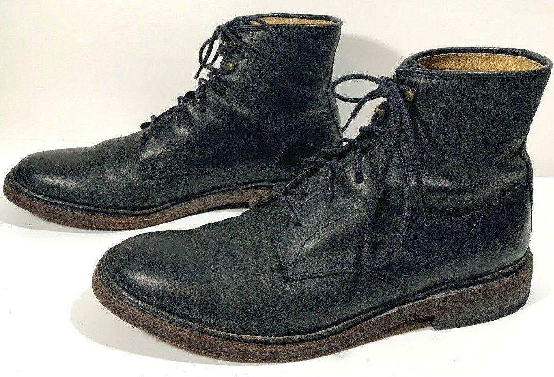 Frye 87124 con Cordones Negro Cuero Liso Suave Chukka botas Vintage 8.5 D
