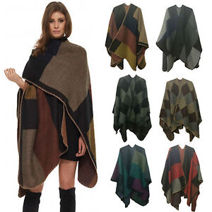 Women Ladies MOTHER DAY Multi Check Block Blanket Cape Shawl Pouncho
