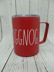 Rae-Dunn-Red-Eggnog-Christmas-White-Lettering-Holiday-Stainless-Mug-Tumbler-NEW