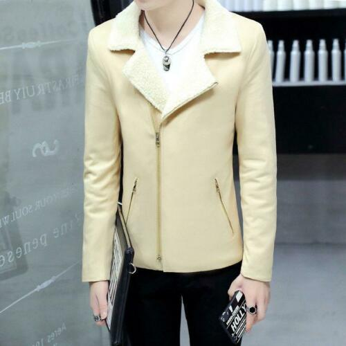 Fashion Hiver Homme Chaud Fourrure Polaire Doublé Coupe Slim Revers Veste Outwears manteaux