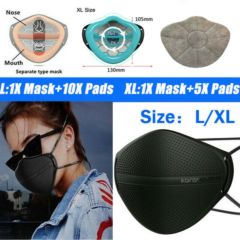USA Silicone Mask W/Carbon Filter Pad Reusable Separate Nose Mouth Respirators