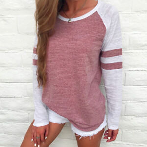NEW-Fashion-Women-Ladies-Long-Sleeve-Splice-Blouse-Tops-Loose-Pullover-T-Shirt
