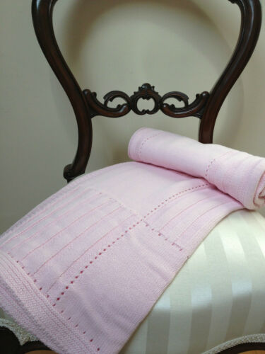 NEW Rochdale Boutique 100/% Pure Cotton Pink Knit Baby Blanket Vintage Style