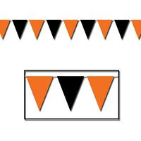 Orange & Black Outdoor Pennant Banner 17 X 30' / Halloween (b00116)