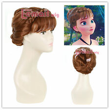 USA Ship! 25cm Short brown mixed pink Froze Anna coronation cosplay wig CW03