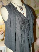 Pretty Angel Boho Vintage Chic Gray Crochet Lace Layered Top Blouse Vest M