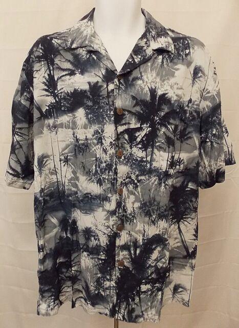 Hilo Hattie Men's Aloha Shirt Hawaiian Blue Palm Tree Print size Large