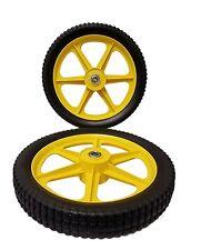 "13-3/4"" Yellow Push Mower Wheel, Plastic, 2"" Wide, 1/2"" ID, 2.50"" Bore Brute"