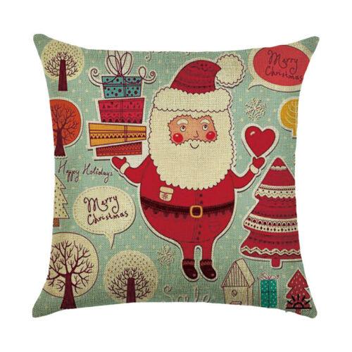 Christmas Pattern Pillow Case Cotton Linen Cushion Cover  Home Decor
