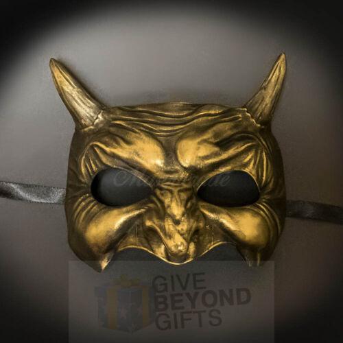 Masquerade Masks Japanese Rusty Gold Demon Akuma Halloween Costume Unisex