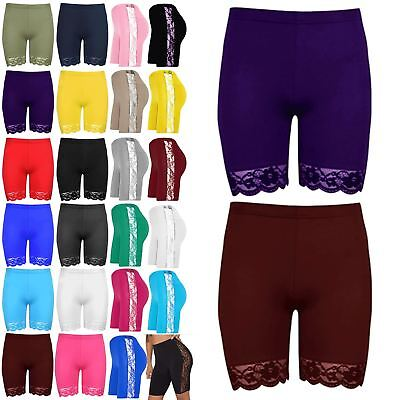 Ladies Lace Trim Fitted Body Shape Jersey Gym Active Cycling Hot Pants Shorts