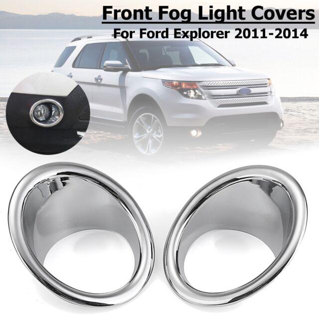 Chrome ABS Car Front Fog Light Lamp Cover Trim 2pcs For Ford Explorer 2011-2015