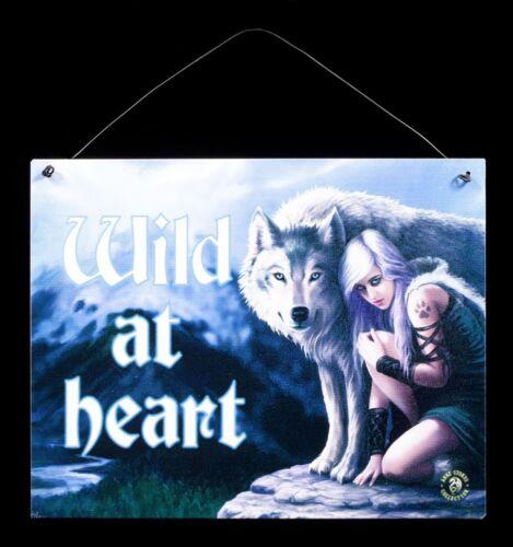 Anne Stokes Fantasy Türdeko Wild at heart Protector Metall Schild mit Wolf