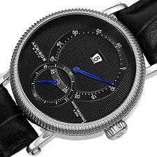 Men's Akribos XXIV AK723BK Automatic Pattern Dial Genuine Leather Strap Watch