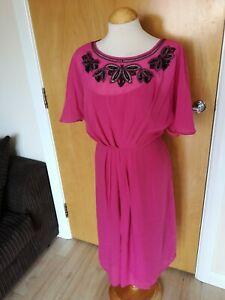 Ladies-MONSOON-Dress-Size-12-Pink-Black-Beading-Smart-Party-Evening-Wedding